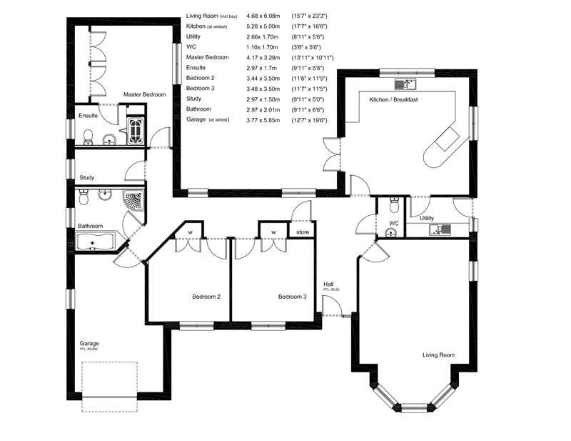 House plans and design architect plans for bungalows uk for New build 2 bedroom house